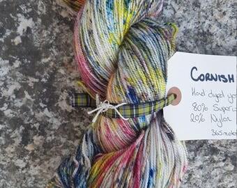 Hand dyed sock yarn 100g Cornish Tartan