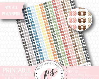 Contact Lens Case (Change Contact Lens Reminder) Icon Printable Planner Stickers | JPG/PNG/Silhouette Cut Files