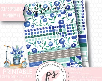 Bloom September 2017 Monthly View Kit Printable Planner Stickers (for use with Erin Condren ECLP) | JPG/PDF/Silhouette Cut File