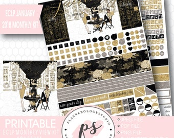 Cheers New Year's January 2018 Monthly View Kit Printable Planner Stickers (for Erin Condren ECLP) | JPG/PDF/Silhouette Cut File