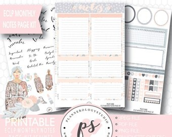 Shine Monthly Notes Page Kit Printable Planner Stickers (for Erin Condren ECLP) | JPG/PDF/Silhouette Cut File