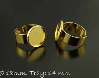 Golden ring blanks, 14 mm cabochon version