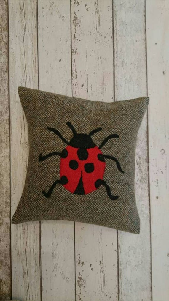 SALE Hand crafted Harris Tweed Ladybird House Design cushion cover