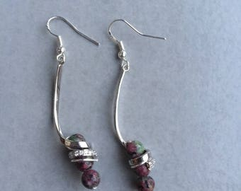 Earrings in silver and Ruby in zoisite