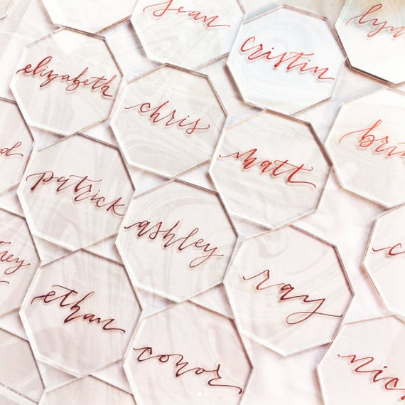 Clear Acrylic Octagon Place Cards