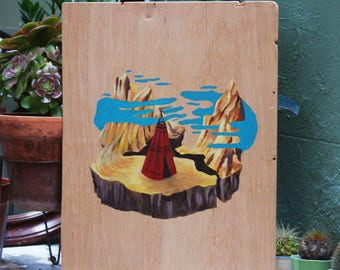 Landscape. Painting on wood. Original Art.