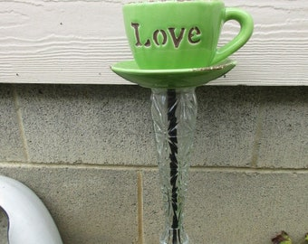 "New Green ""Love"" Coffee Cup Planter Garden Art"