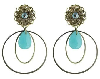 Earring clip turquoise Syracuse (made in France)
