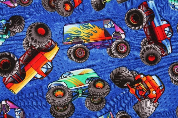 Monster truck cotton fabric by the half yard from for Monster truck fabric