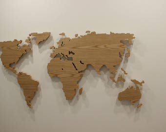 Hand made wooden world map