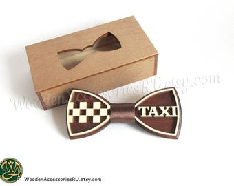 Wood bow tie Taxi driver car wooden bowtie