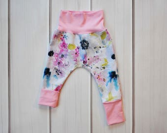 Pink Floral Leggings, Grow with Me Harem Pants, Baby Girl Clothes, Baby Shower Gift, Toddler Pants, Spring Baby Pants, Flower Leggings