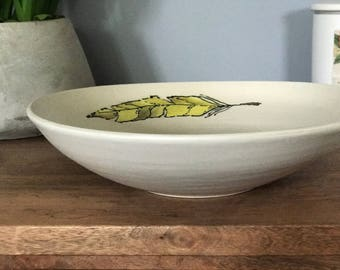 feather bowl platter handmade pottery