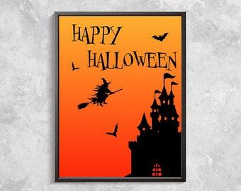Halloween Printable Art, Halloween Print, Happy Halloween, Printable Halloween Decor, Halloween Party Decorations, Haunted House Sign 8x10