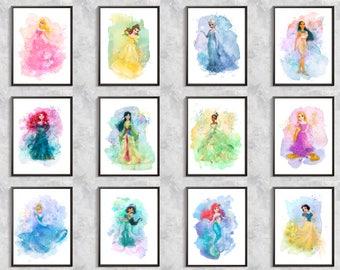 Princess Print, 12 Princess set, princess party, Princess Digital download art, Rapunzel, Elsa, Belle, Tiana, Merida, Jasmin, Pokahontas