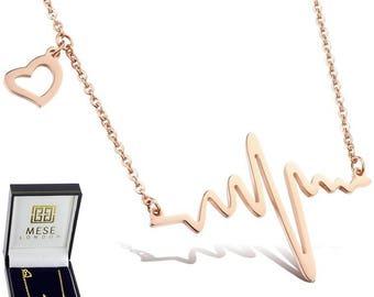 Heartbeat Necklace Music Wave Gold Pendant - Elegant Gift Box