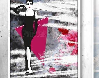 Audrey Hepburn Print, Audrey Hepburn Art, Hollywood Wall Art, Audrey Hepburn Quote, Audrey Hepburn Wall Art,Audrey Hepburn Poster,Glam Decor