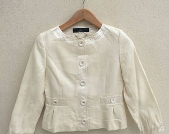 Japanese Brand Ined Cropped Button Up Jacket