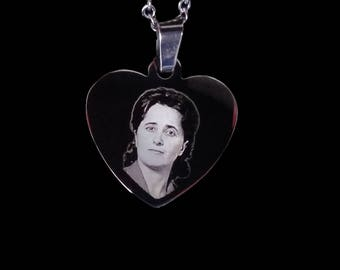 Photo Engraved Heart Pendant Necklace