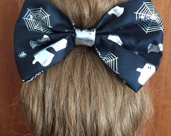 Rockabilly hair bow Barrette of happy Halloween ghost Spider Web