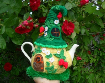 House with flowers, Fairy house teapot cosy, Knitted berries, Aromatic tea cozy, Tea cozy, Fairy-tale house