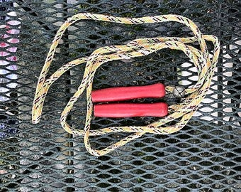 Jump Rope-Woven Rope with Red Wooden Handles and Bell