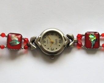 WA12 - Ladies Unique Handmade Red Antique Look Bracelet Watch