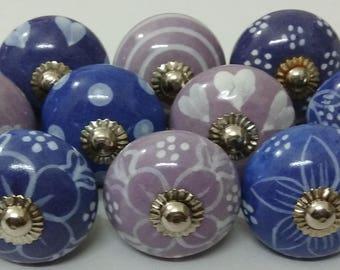 Purple Mix Ceramic Knobs Handpainted Kitchen Cabinet Knobs Hardware Drawer Knobs Ceramic Door Knobs