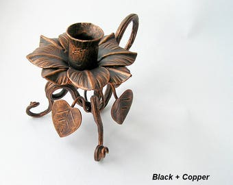 Forged Candle Holder Candleholder flower Iron Candle Holder Hand forged Candleholder forged Lighting Larp Vines Elfin Unique holder