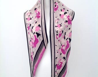 1930s silk scarf floral Art Deco