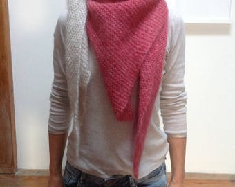 Scarf scarf shawl made of mohair Silk Wool Pink White