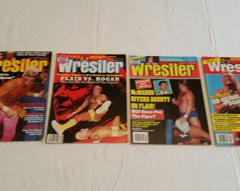 4 vintage pro wrestling magazines - the wrestler 1991 - 1993  - wwe wwf awa ecw nwa sports sting windham ultimate warrior sid muta flair #k