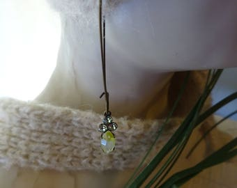 Free Shipping/Swarovski Crystals Earrings/Vintage Chrysolite and Yellow Givre Glass Stone/Swarovski and Vintage Glass Earrings/Aretes
