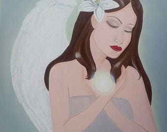 SERENITY. Peaceful modern angel painting