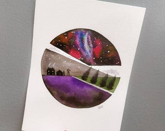 Astronomy Night Sky watercolour piece. Original, not a print. A4. Inspired by a Farm, Forests, the Night sky & snow.