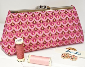 Clutch Bag - Purse - Hand Bag - Evening Bag - Prom Bag - Handmade bag featuring a gorgeous pink prepeating pattern with metallic accents