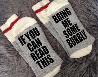Bubbly - Bring me Socks - If You Can Read This Socks - If You Can Read This Bring me Some Bubbly - Champagne Gifts -Gift Ideas-Novelty Socks