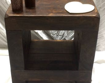Handmade Rustic Side table 40 cm cube wooden bedside
