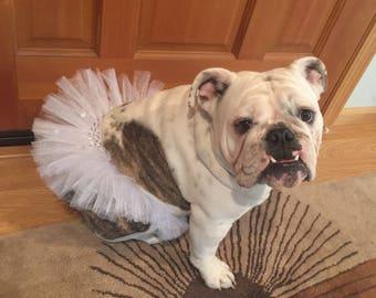 NEW!!! White & Rhinestone Tutu For Dogs/Wedding Tutu For Pets/Dog of The Bride Tutu/Pet Clothing