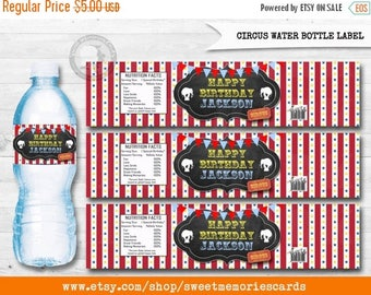 50% OFF SALE Circus Water Bottle Label, Circus Water Bottle, Carnival Water Bottle, Circus label