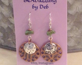 Antique copper and Silver Layered Earrings