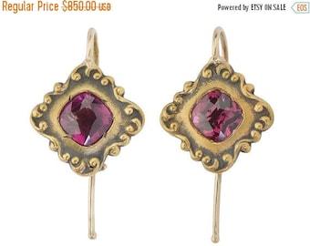 ON SALE Antique Garnet Earrings    Edwardian Vintage Garnet Earrings   Estate Yellow Gold    17038