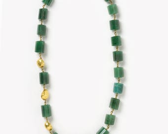 Hand Crafted, 18 Kt Brushed Gold & Amazonite Necklace