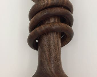 Beautiful Curly Walnut Wooden Baby Rattle / Toy - Captive Rings