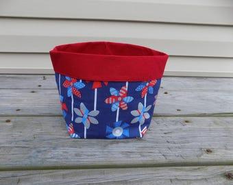 Patriotic Pinwheels Large Fabric Basket
