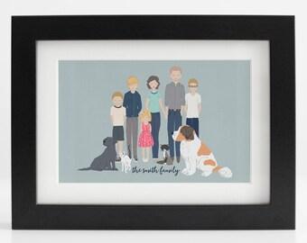 Larger or Extended Family Custom Portrait - Housewarming, Bridal Shower, Baby Shower, Birthday, Reunion, Christmas