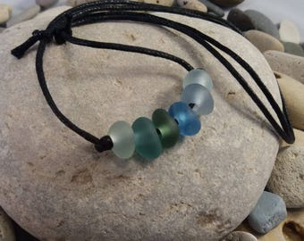 Green/Blue/Clear Seaglass Adjustable Cord Necklace, Handmade, Surfer Style,  Father's Day/Birthday Gift, Genuine Seaglass