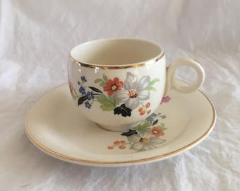Homer Laughlin Eggshell Tea Set, Cup and Saucer, floral