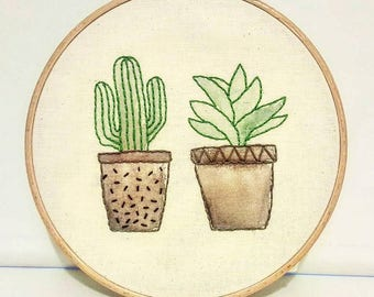 Cactus embroidery hoop wall decor