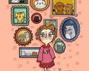 Dolores Umbridge & Cats Harry Potter Fan Art Illustration